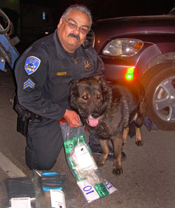 Uniformed officer kneeling with an evidence bag and a K-9 unit leaning against him.